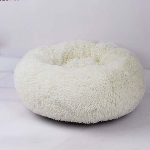 Image of White Marshmallow Donut Cuddler Cat & Dog Super Soft Plush Bed (XS to XXL)