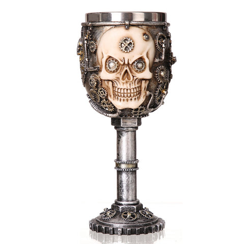 Skull, Skeleton, Dragon, Knight, Medieval Goth Goblet