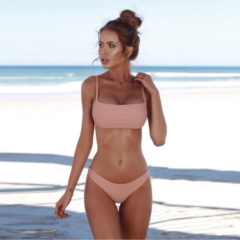 Solid Color Bikini Set Push-up Bra (USA only)