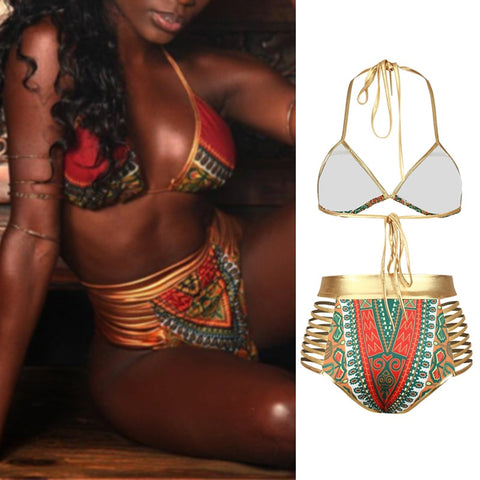 Image of African Print Two-Pieces Bikini High Waist Swimsuit (USA & Worldwide)
