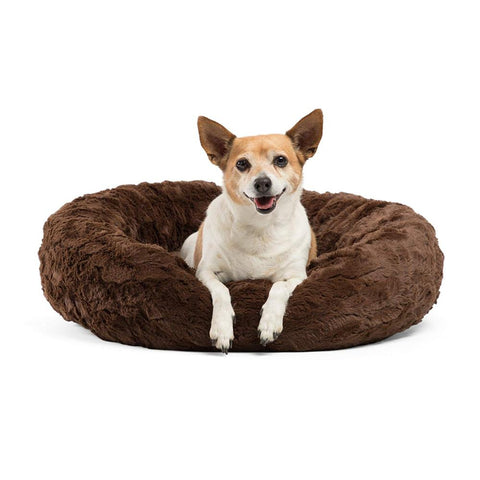 Image of Brown - Coffee Marshmallow Donut Cuddler Cat & Dog Super Soft Plush Bed (XS to XXL)