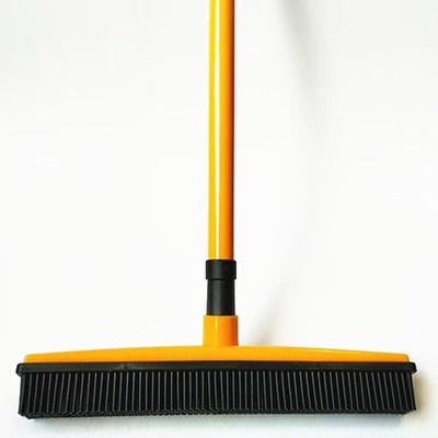 Image of Miracle Rubber Broom: Multi Purpose Rubber Bristle Broom & Squeegee For Pet Hair Removal From Floor & Carpet / Dust & Liquid ORANGE