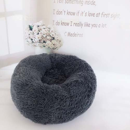 Dark Grey Marshmallow Donut Cuddler Cat & Dog Super Soft Plush Bed (XS to XXL)