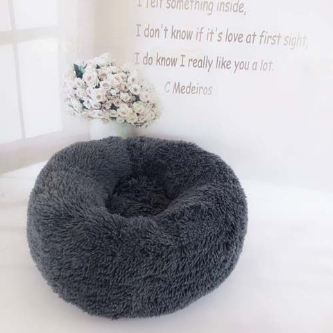 Image of Dark Grey Marshmallow Donut Cuddler Cat & Dog Super Soft Plush Bed (XS to XXL)