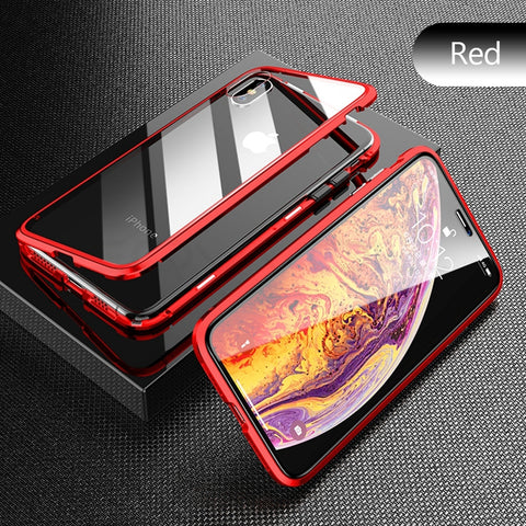 Image of Red Premium Luxury Metal Front/Back Tempered Transparent Glass Magnetic Case For iPhone XS MAX X XR 7 8 6 6 Plus