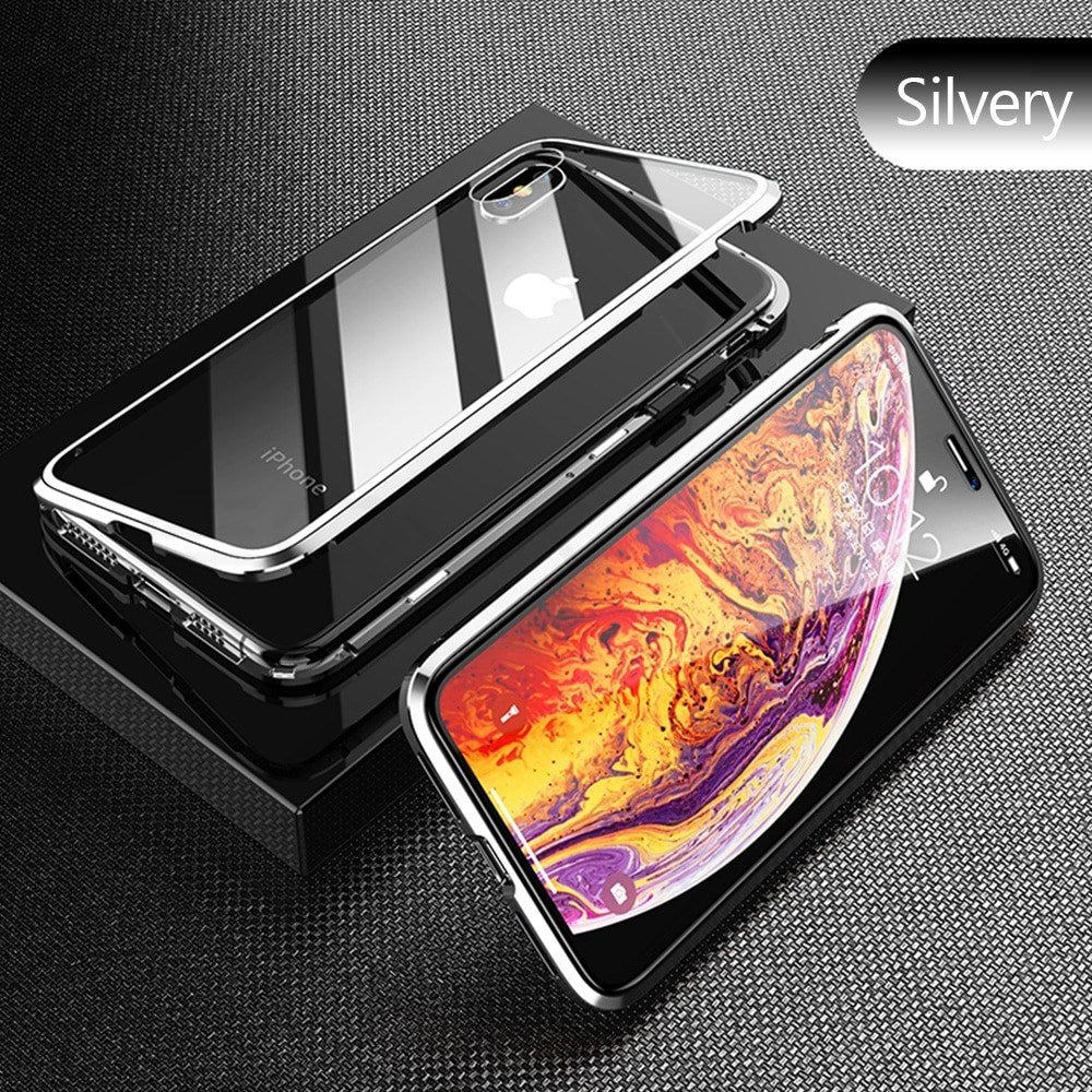 Silver Premium Luxury Metal Front/Back Tempered Transparent Glass Magnetic Case For iPhone XS MAX X XR 7 8 6 6 Plus
