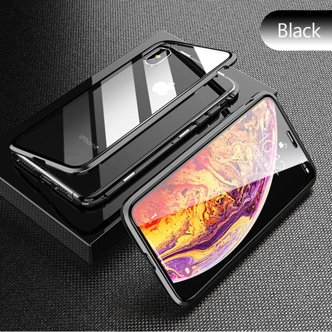 Black Premium Luxury Metal Front/Back Tempered Transparent Glass Magnetic Case For iPhone XS MAX X XR 7 8 6 6 Plus