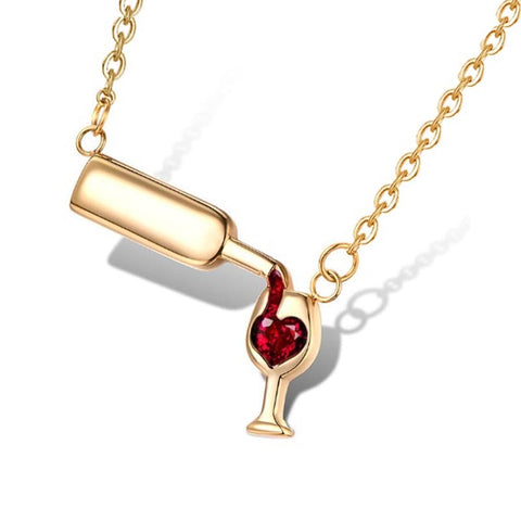 Image of Wine Love Women Pendant Necklace Red Cubic Zirconia Unique Design Jewelry