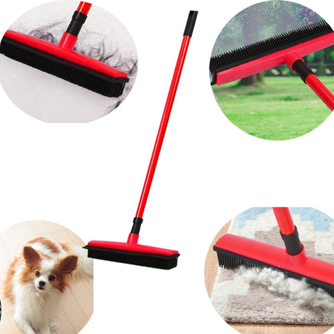 Image of Miracle Rubber Broom: Multi Purpose Rubber Bristle Broom & Squeegee For Pet Hair Removal From Floor & Carpet / Dust & Liquid