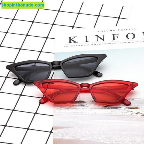 Image of Colorful Transparent Angular CatEye Frame Sunglasses UV400