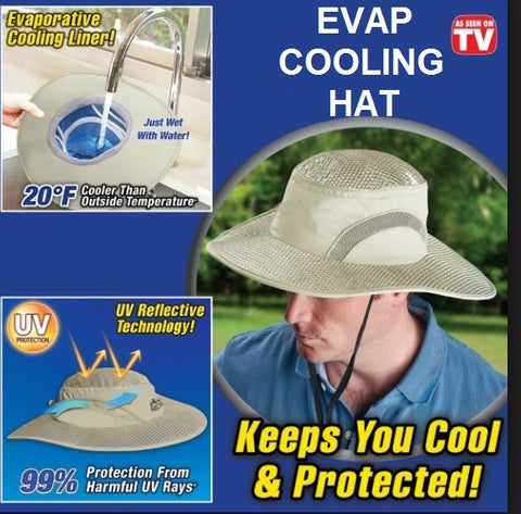 Image of Evaporative Cooling Heat & UV reflecting Hat/Cap (Up to 20° F cooler) 50%OFF