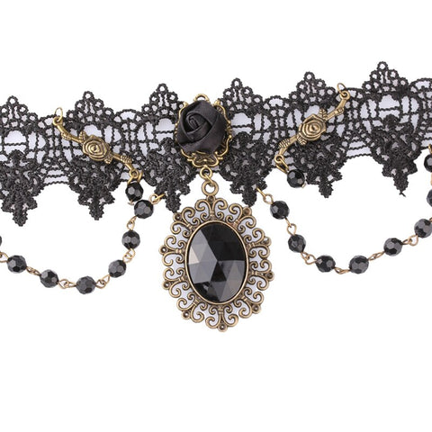 Gothic Black Rose Lace Chokers Necklaces w/ Beads Collar - ShopInTheNude.com
