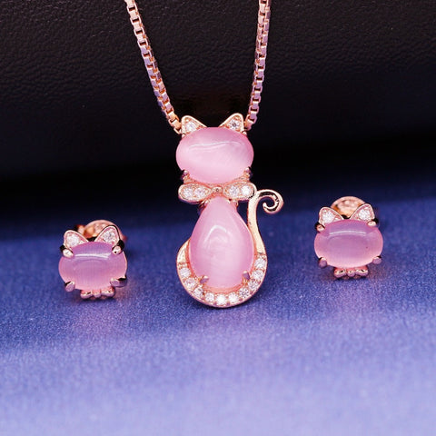 Image of Cat Jewelry Set Pink Opal Ring Stud Earrings and Necklace Rose Gold Color