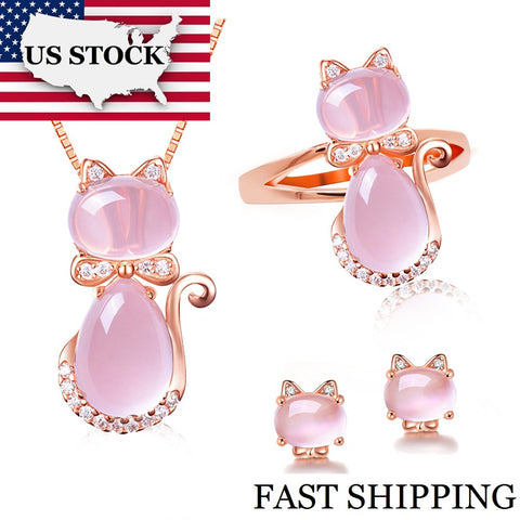 Cat Jewelry Set Pink Opal Ring Stud Earrings and Necklace Rose Gold Color