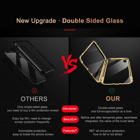 Premium Luxury Metal Front/Back Tempered Transparent Glass Magnetic Case For iPhone XS MAX X XR 7 8 6 6 Plus