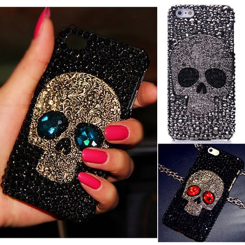 3D Skull Skeleton Blue Eyes Bling Cases for Samsung Galaxy S10e S10 Plus S10 S9 S8 Plus Note 9 8 iPhone XS MAX XR XS X