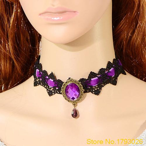 Goth Lace Choker Short w/ Crystal Pendant - ShopInTheNude.com