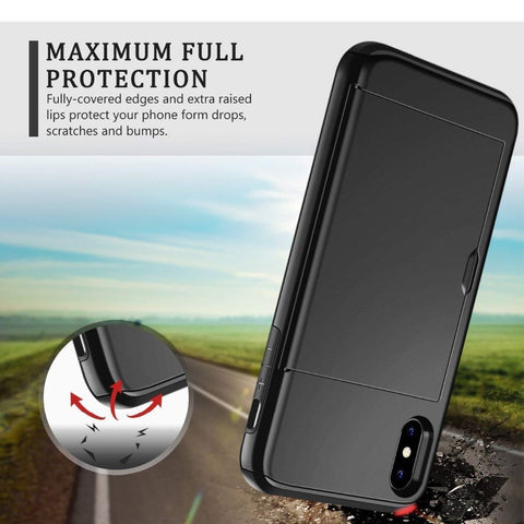 Image of Business Armor Wallet Phone Case For iPhone X XS Max XR 7 8 Plus 6 6s 5 5S SE Slide Card Slot