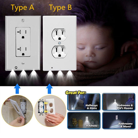 Image of Plug Cover LED Night Light PIR Body Motion Sensor Activated Safety Light Angel Wall Outlet Hallway Bedroom Bathroom Night Lamp - ShopInTheNude.com