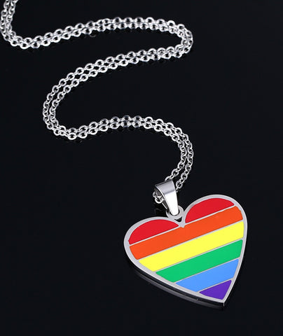 Gay Pride Rainbow Heart ID Pendant Necklace Stainless Steel - ShopInTheNude.com