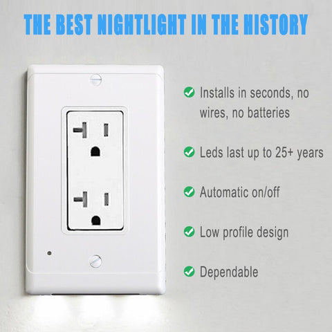 Image of Plug Cover LED Night Light Ambient Light Activated Safety Wall Outlet