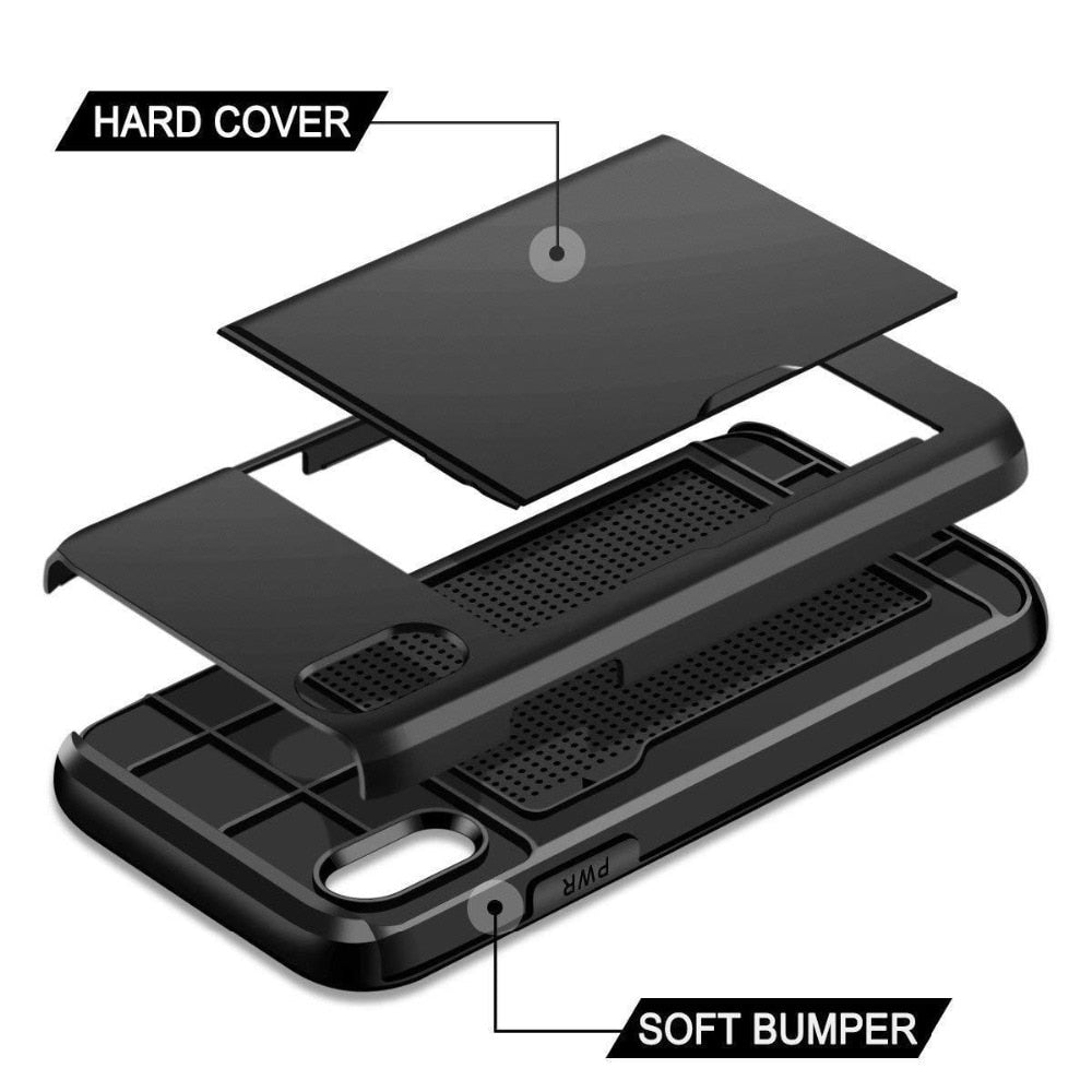 Business Armor Wallet Phone Case For iPhone X XS Max XR 7 8 Plus 6 6s 5 5S SE Slide Card Slot