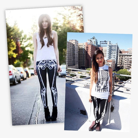 3D Printed Bones Black Skeleton Women Goth / Rocker / Punk Rock / Fitness Leggings High Waist Pants - ShopInTheNude.com