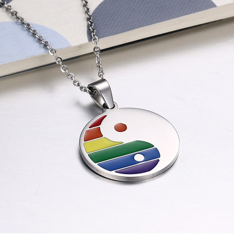 Image of Gay / Bi Jewelry Yin and Yang Rainbow Pendant Necklaces Stainless Steel Round Tag - ShopInTheNude.com