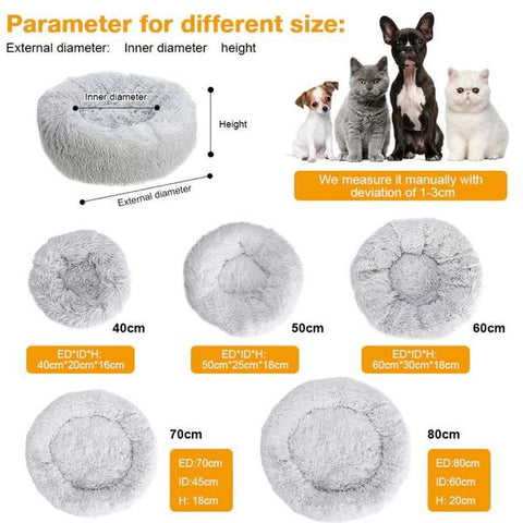 Size Chart Marshmallow Donut Cuddler Cat & Dog Super Soft Plush Bed (XS to XXL)