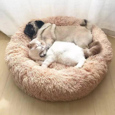 Image of Fast USA Shipping Marshmallow Donut Cuddler Cat & Dog Super Soft Plush Furry Heavenly Bed XS-XXL