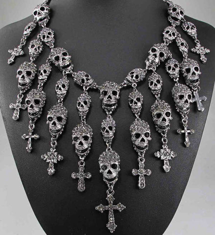 Image of Skeleton Skull & Cross Inlaid Crystal Rhinestone Necklace (matching earrings available) Goth / Punk - ShopInTheNude.com