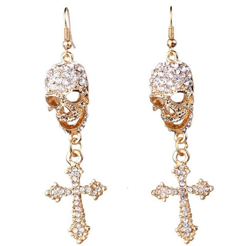 Image of Skull & Cross Earrings with Rhinestone (matches Skull & Cross Necklace available) - ShopInTheNude.com
