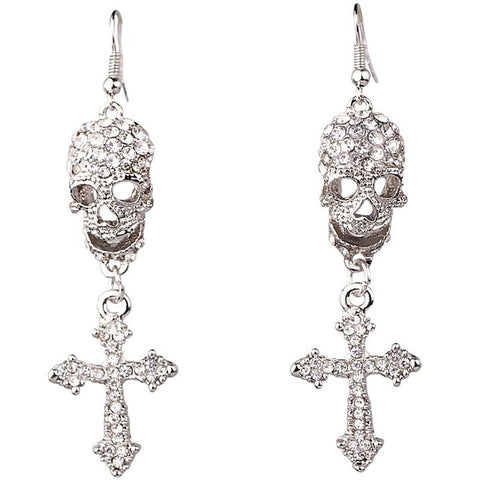 Skull & Cross Earrings with Rhinestone (matches Skull & Cross Necklace available) - ShopInTheNude.com