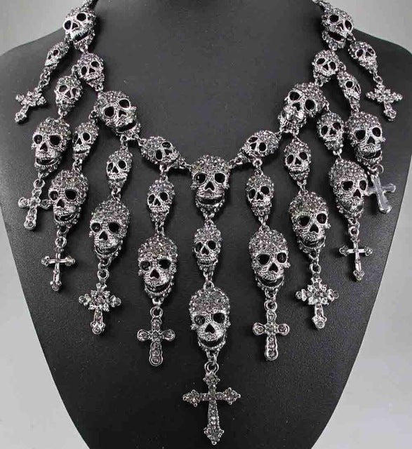 Skeleton Skull & Cross Inlaid Crystal Rhinestone Necklace (matching earrings available) Goth / Punk - ShopInTheNude.com