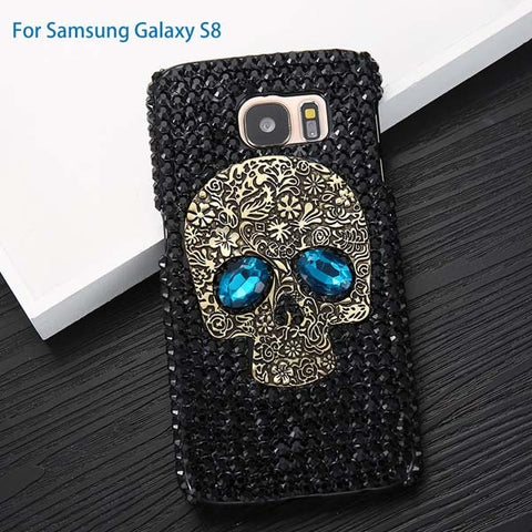 Rhinestone Skull With Blue Eyes Cover Phone Case For iPhone 5, 5s, 6, 6s, 7, 8, Plus Samsung S8, S7, S6, Edge - ShopInTheNude.com