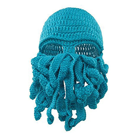 Image of Octopus Winter Face Mask Hat All-in-One.  Hand Woven.  Snowboard Balaclava - ShopInTheNude.com