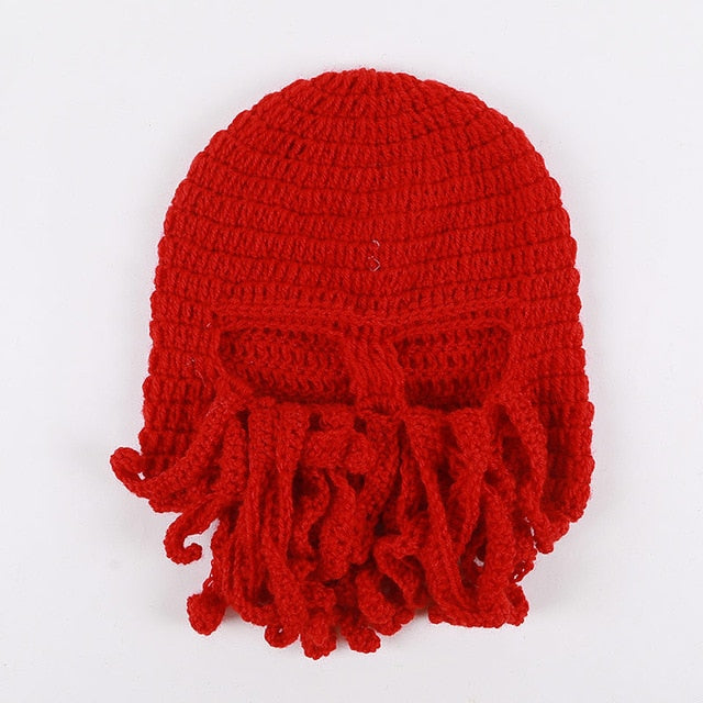 Octopus Winter Face Mask Hat All-in-One.  Hand Woven.  Snowboard Balaclava - ShopInTheNude.com