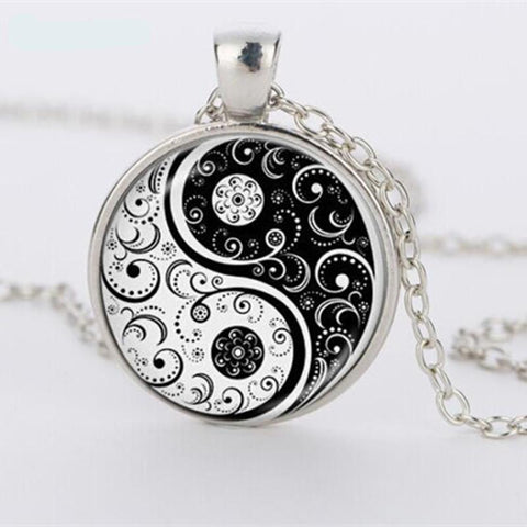Glass Yin & Yang Pendant Necklace - ShopInTheNude.com