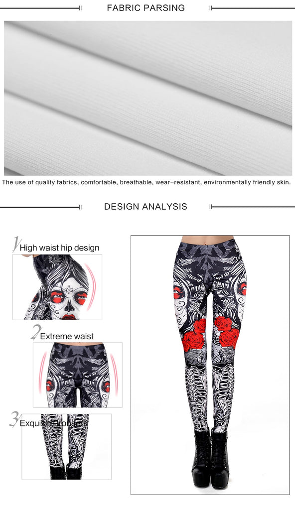 Skulls & Flowers / Dia de los Muertos Leggings Perfect for Work out or Going Out. - ShopInTheNude.com