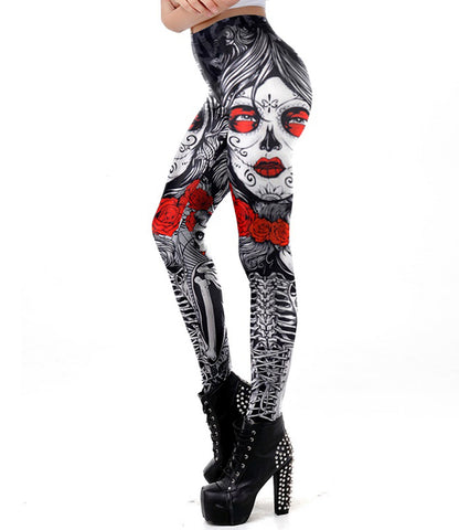 Image of Skulls & Flowers / Dia de los Muertos Leggings Perfect for Work out or Going Out. - ShopInTheNude.com