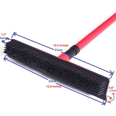 Image of Miracle Rubber Broom: Multi Purpose Rubber Bristle Broom & Squeegee For Pet Hair Removal From Floor & Carpet / Dust & Liquid MEASUREMENTS