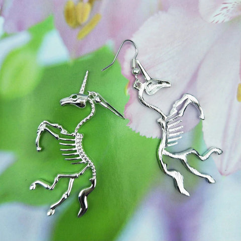 Image of Undead Skeleton Unicorn Earrings