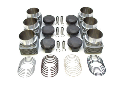 PS102-017 Piston & Cylinder Kit PORSCHE 964 NA 3.6L to 3.8L (also fits 993) (1989-1998) Slip-in ø107mm cylinder case register MAHLE Motorsport