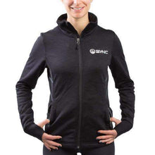 Load image into Gallery viewer, sync-performance-black-womens-training-jacket-fleece-front-model