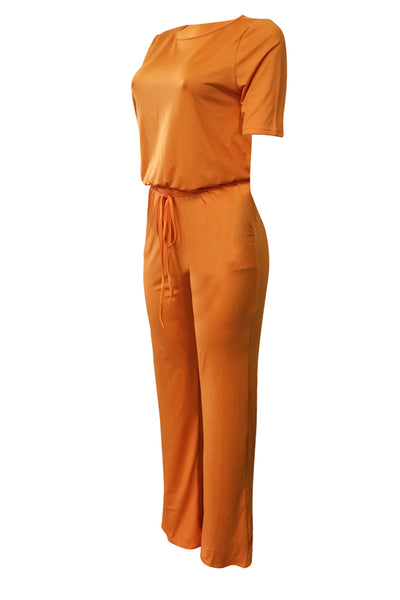 Ootdlady Euramerican Lace-up Orange One-piece Jumpsuit