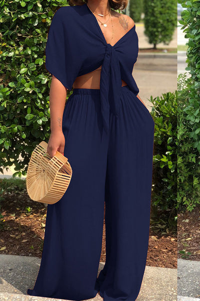 Ootdlady Casual Deep V Neck Loose Dark Blue Two-piece Pants Set
