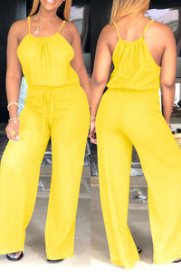 Ootdlady Trendy Loose Yellow One-piece Jumpsuit
