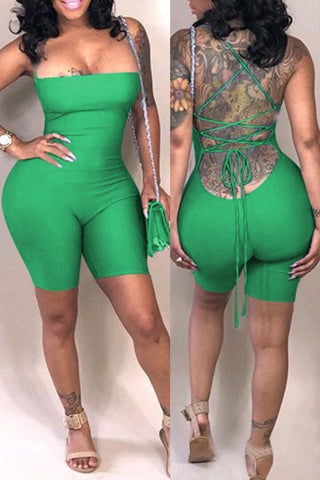 Ootdlady Casual Backless Skinny Green Blending One-piece Romper