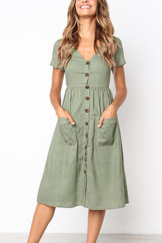 Ootdlady Casual V Neck Buttons Down Mid Calf Dress
