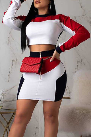 Ootdlady Casual Patchwork Red Two-piece Skirt Set